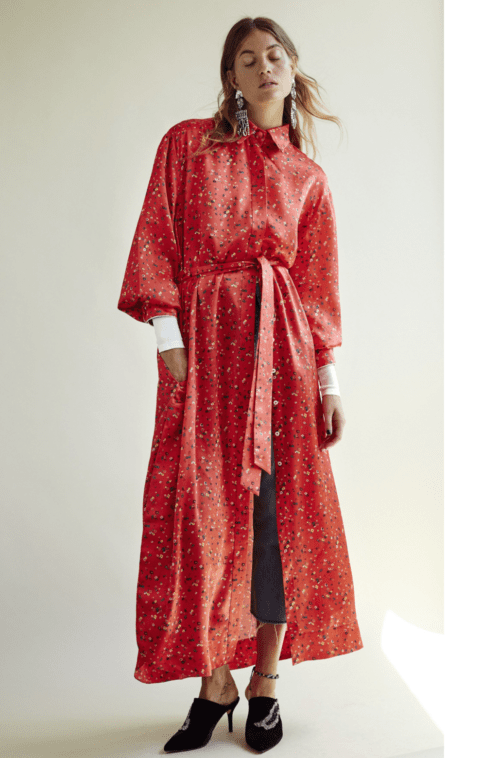 (c) Kathrin Makowski HORROR VACUI SS2018 Camisia silk shirt dress red millefleurs
